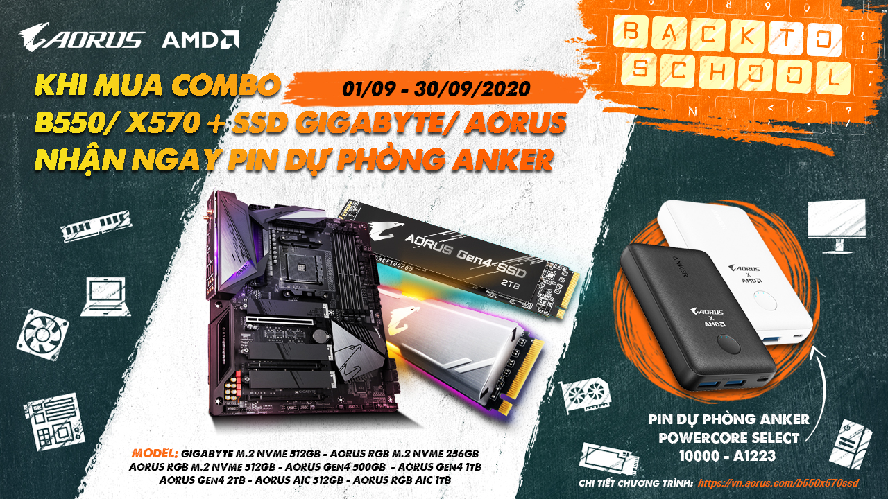 MUA COMBO B550/X570 + SSD GIGABYTE / AORUS - TẶNG PIN DỰ PHÒNG ANKER