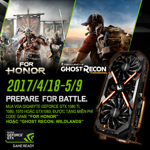 Khuyến mãi Code Game: For Honor hoặc Ghost Recon Wildlands (Chọn 1 trong 2 game)