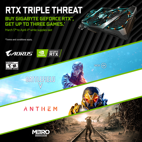【APAC】Buy a Qualifying GIGABYTE RTX 2080Ti, 2080 ,2070 and 2060 Graphics Card and get up to three Games!